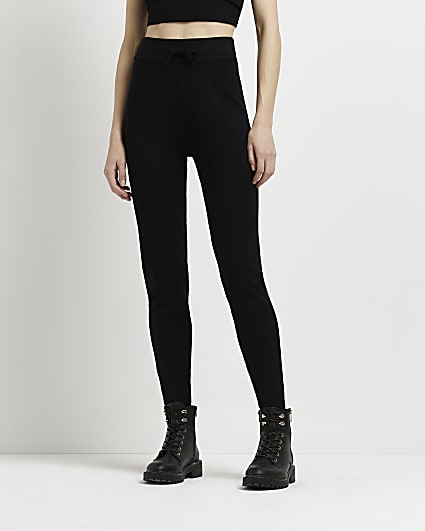 Black slim knitted joggers
