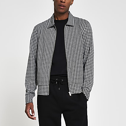 Black slim long sleeve dogtooth overshirt