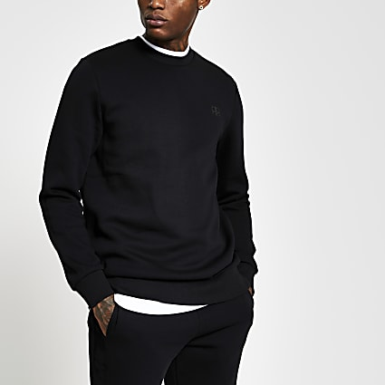 Black slim long sleeve 'RR' crew sweatshirt