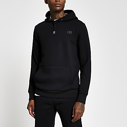 Black slim long sleeve 'RR' hoody