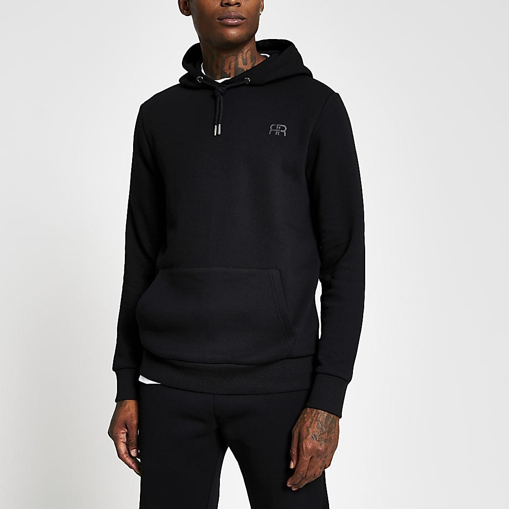 Black slim long sleeve 'RR' hoody