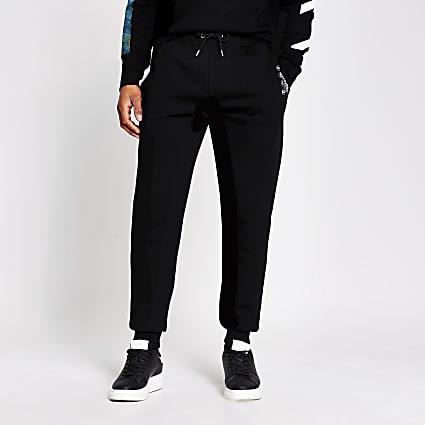 Black slim print jogger