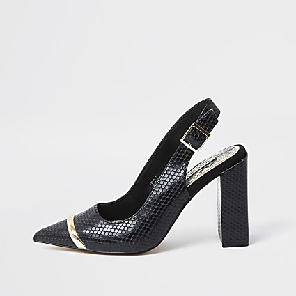 Black Sling Back Court Shoes