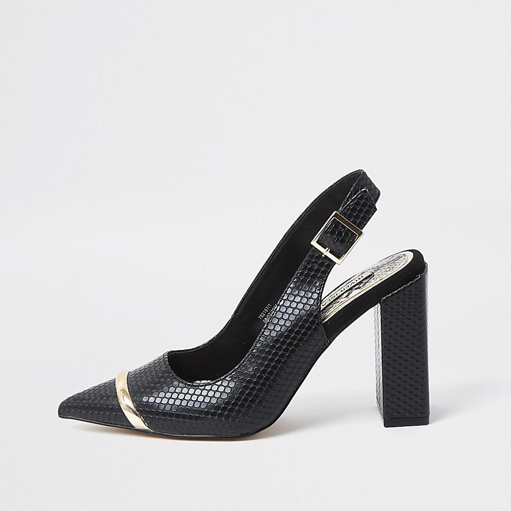 Black Sling Back Court Shoes