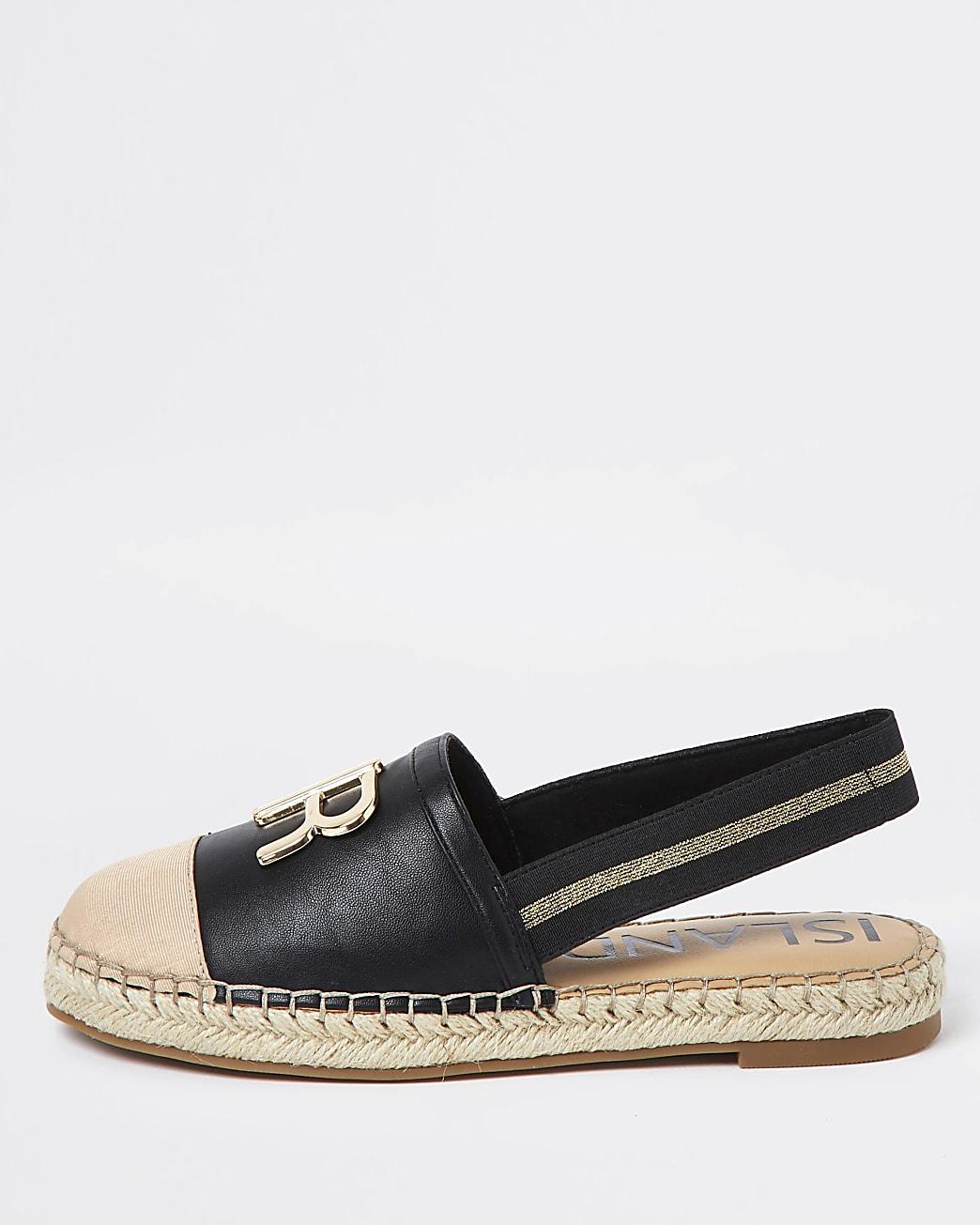 Black sling back espadrille sandals