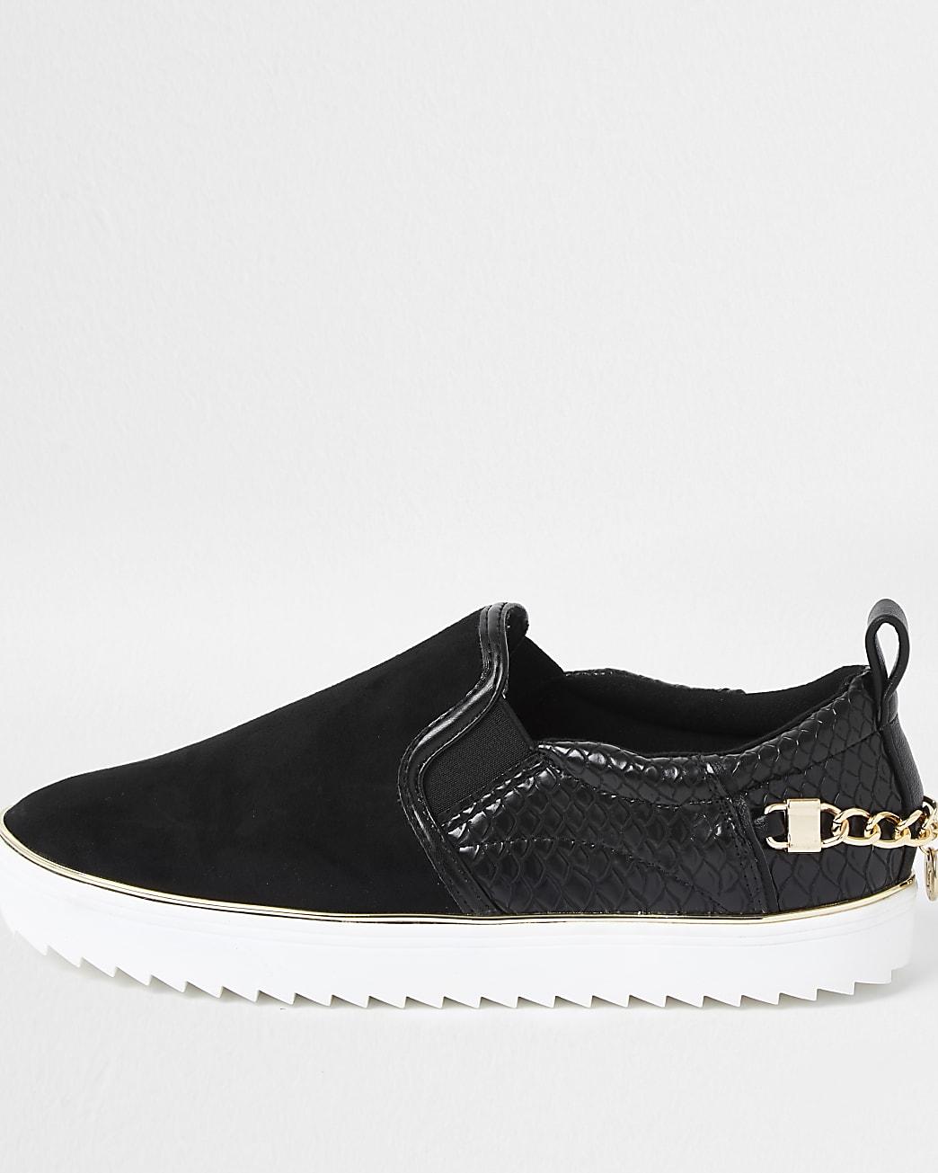 Black slip on chain trainers