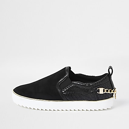 Black slip on chain trainers