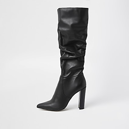 Black slouch leather high leg boots