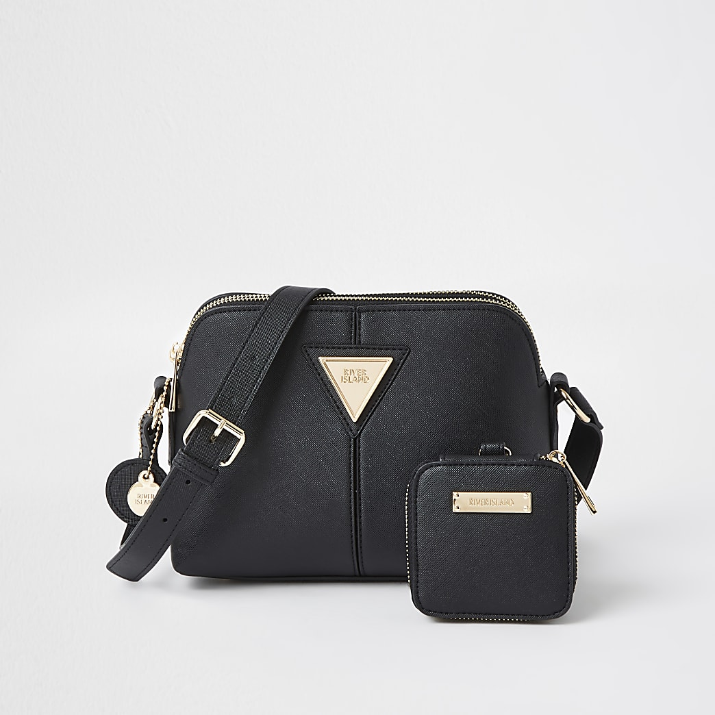 Black small cross body with mini pouch bag