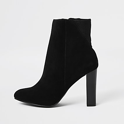 Black smart heeled ankle boot