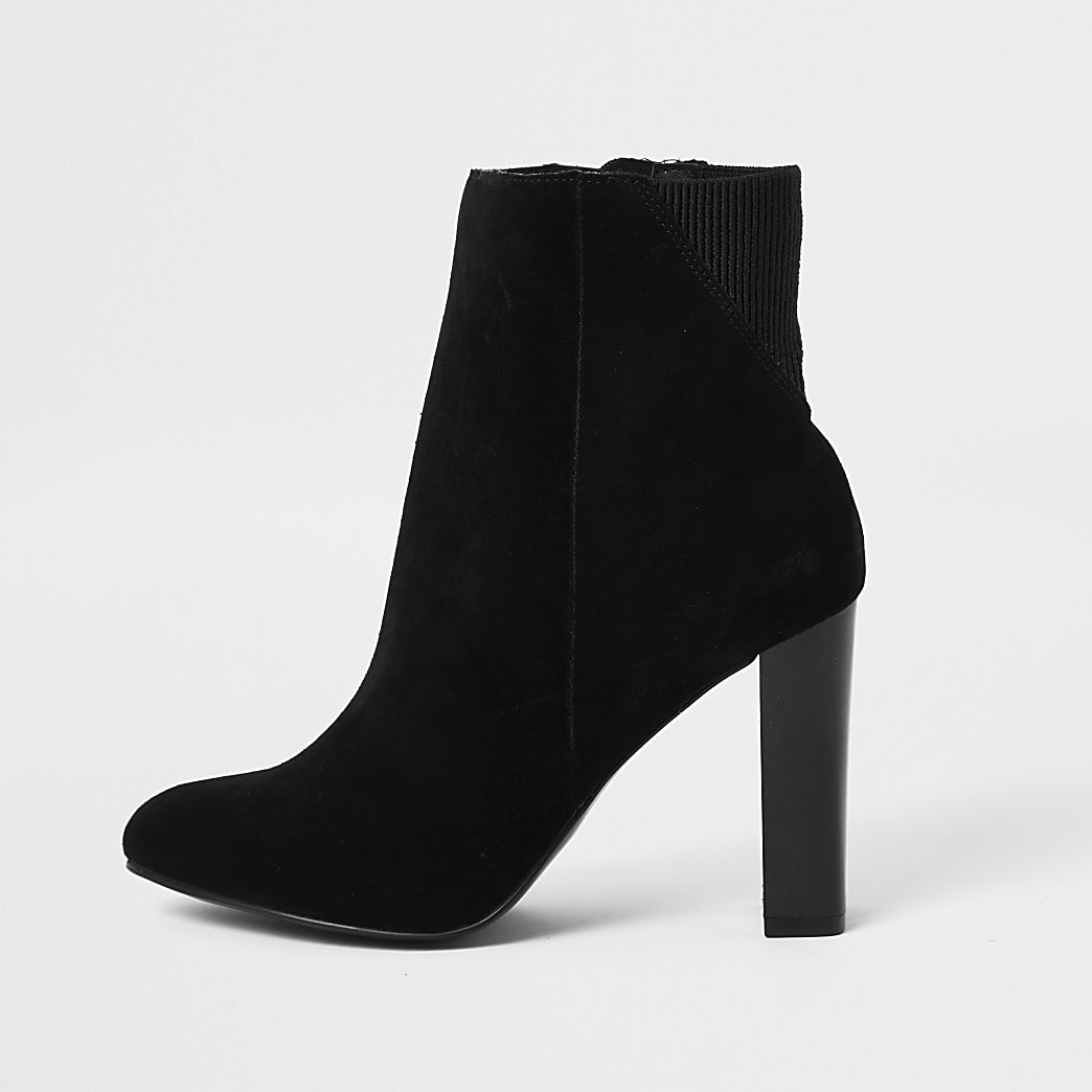 Black smart heeled ankle boots