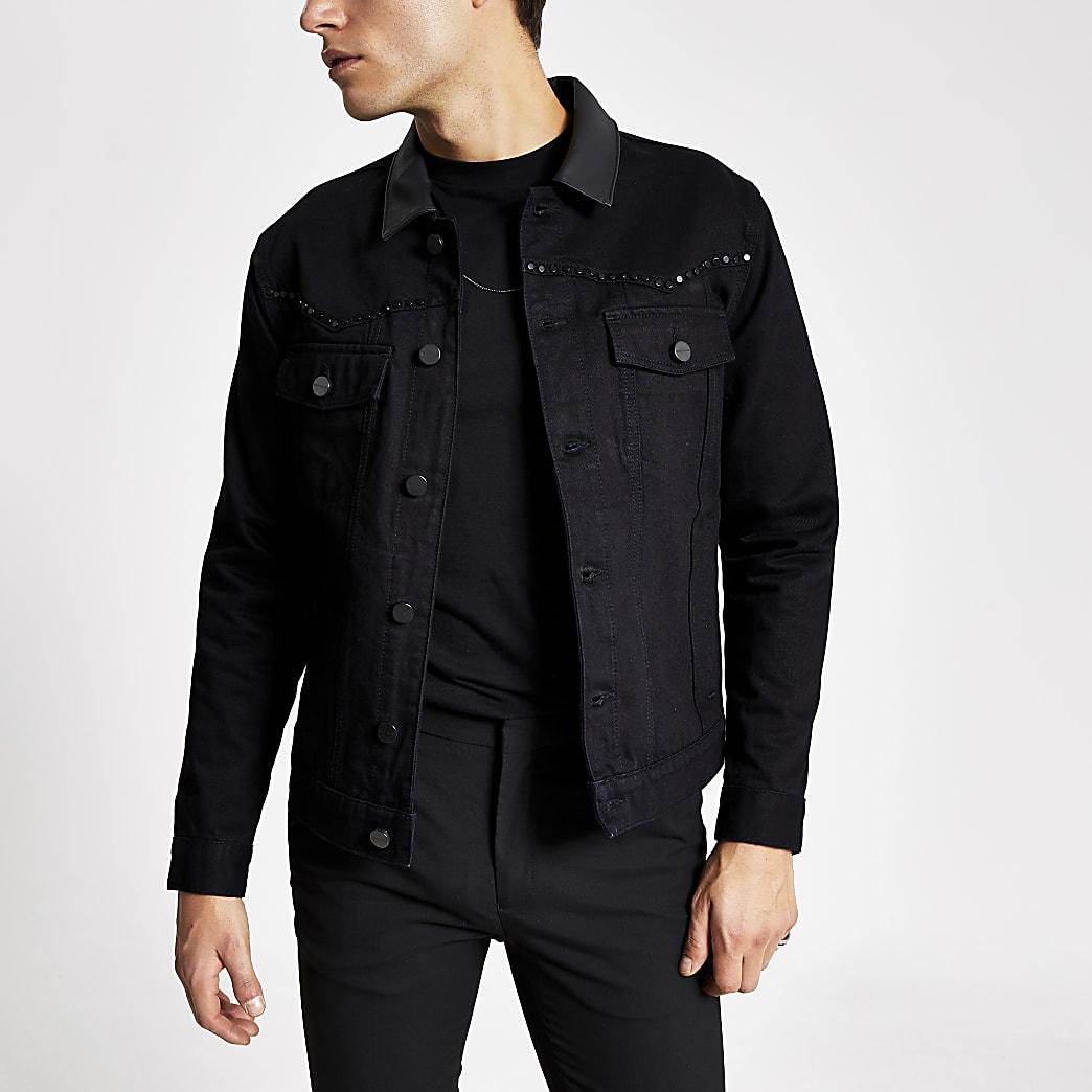 Black Smart Western studded denim jacket