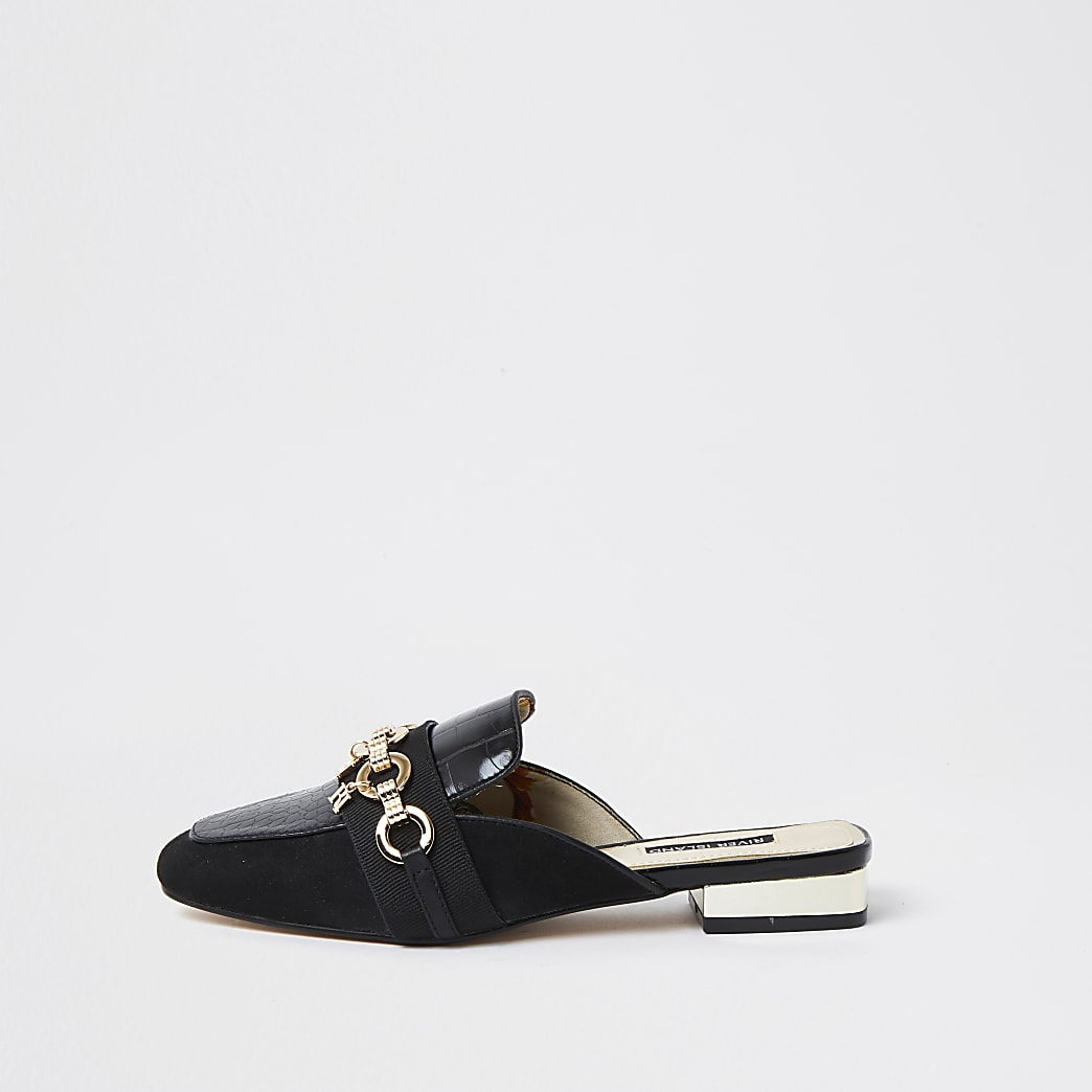 Black snaffle back less loafer