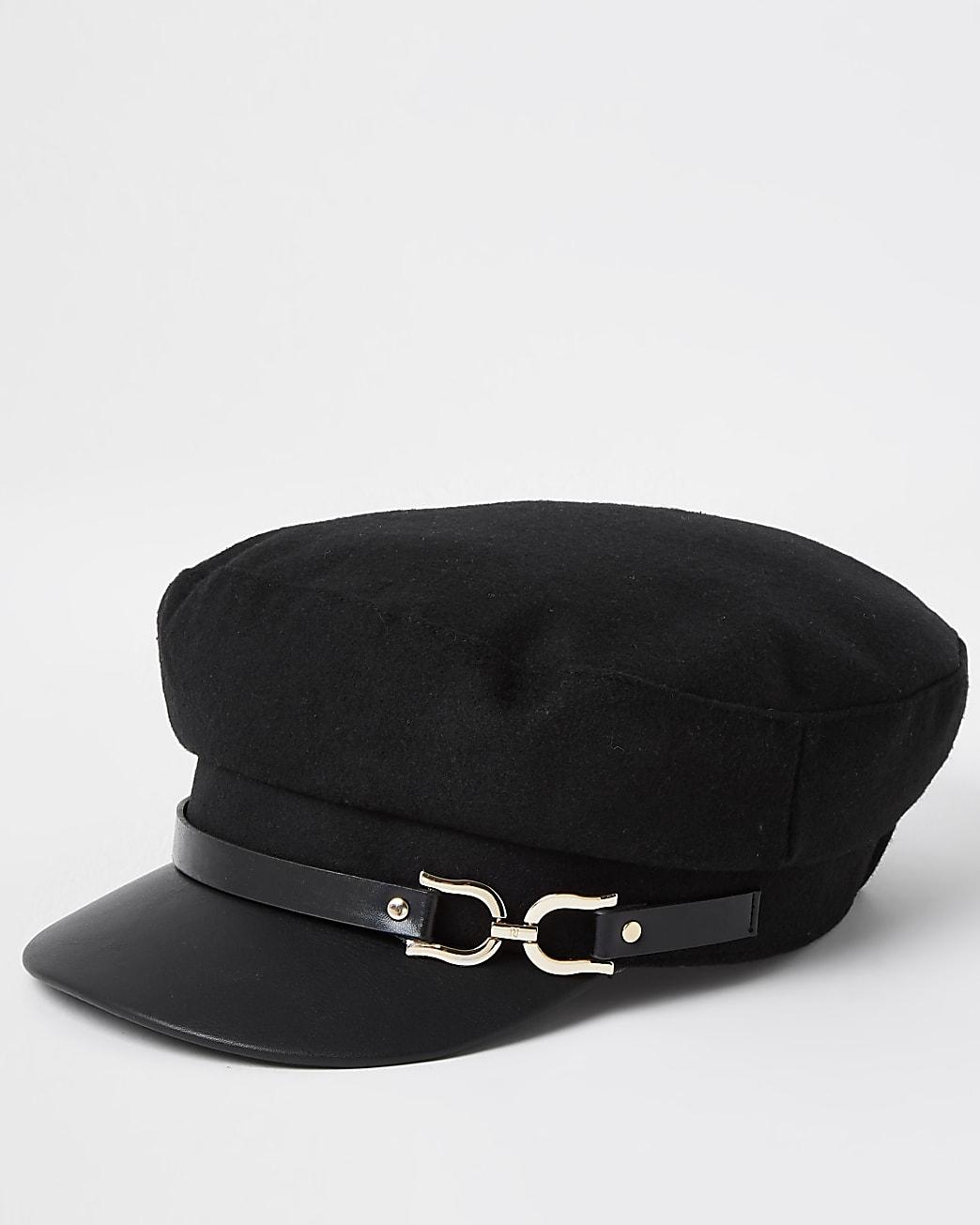 Black snaffle baker boy hat
