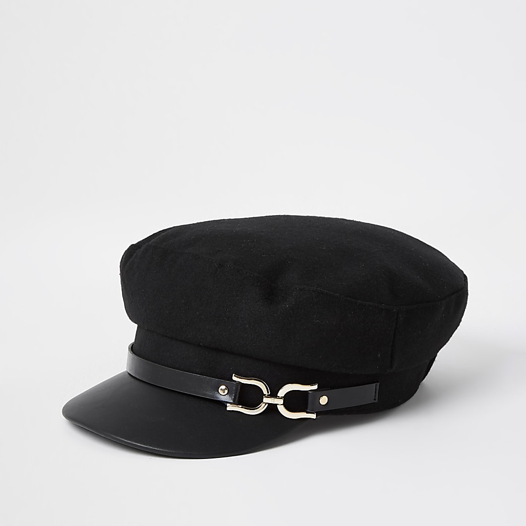 Black snaffle baker boy hat