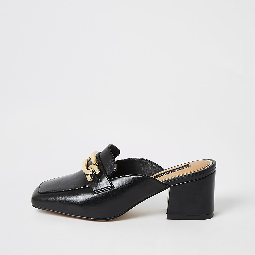 Black snaffle block heel mule shoes