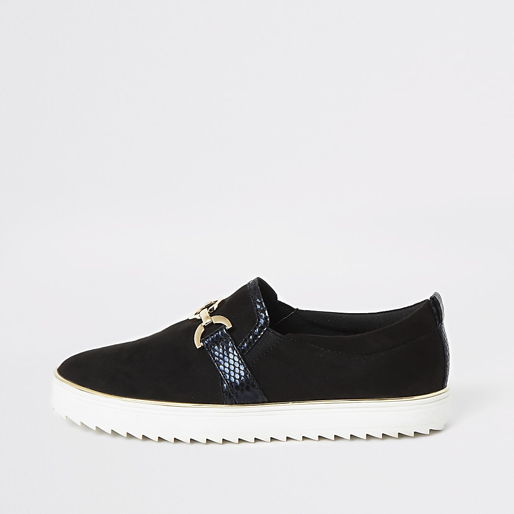 Black snaffle front slip on plimsolls