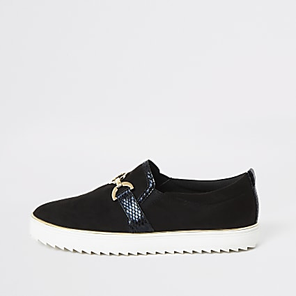 Black snaffle front slip on trainers
