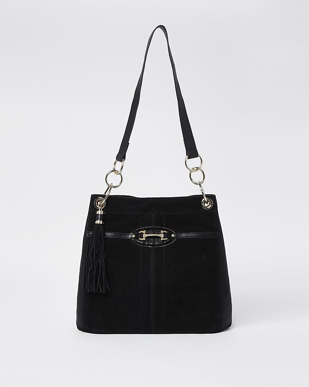Black snaffle slouch bag