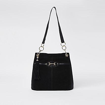 Black snaffle slouch bag