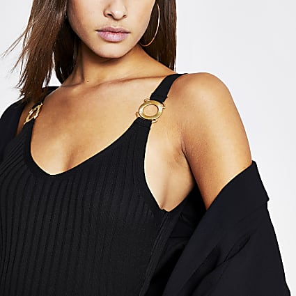 Black snaffle strap ribbed knit vest top