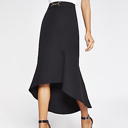 Black snaffle waist fluted midi skirt