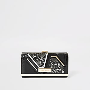 Black snake embossed cliptop purse