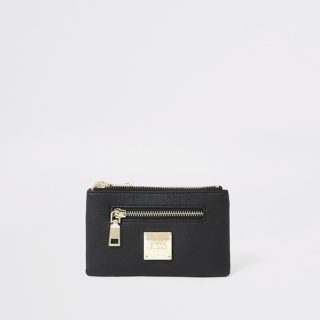 Black snake embossed mini zip pouch