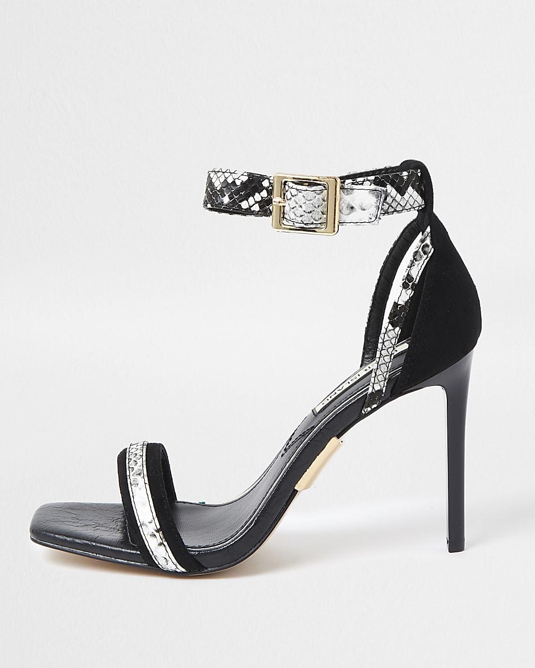 Black Snake Print Barely There Sandal