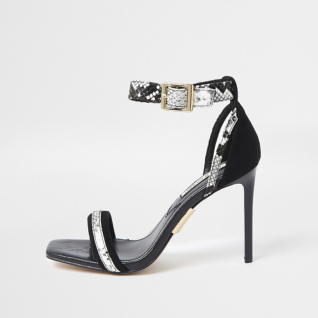 Black Snake Print Barely There Sandal