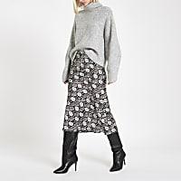 Black snake print bias cut midi skirt