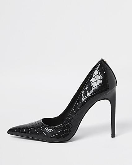 Black snake print court shoes