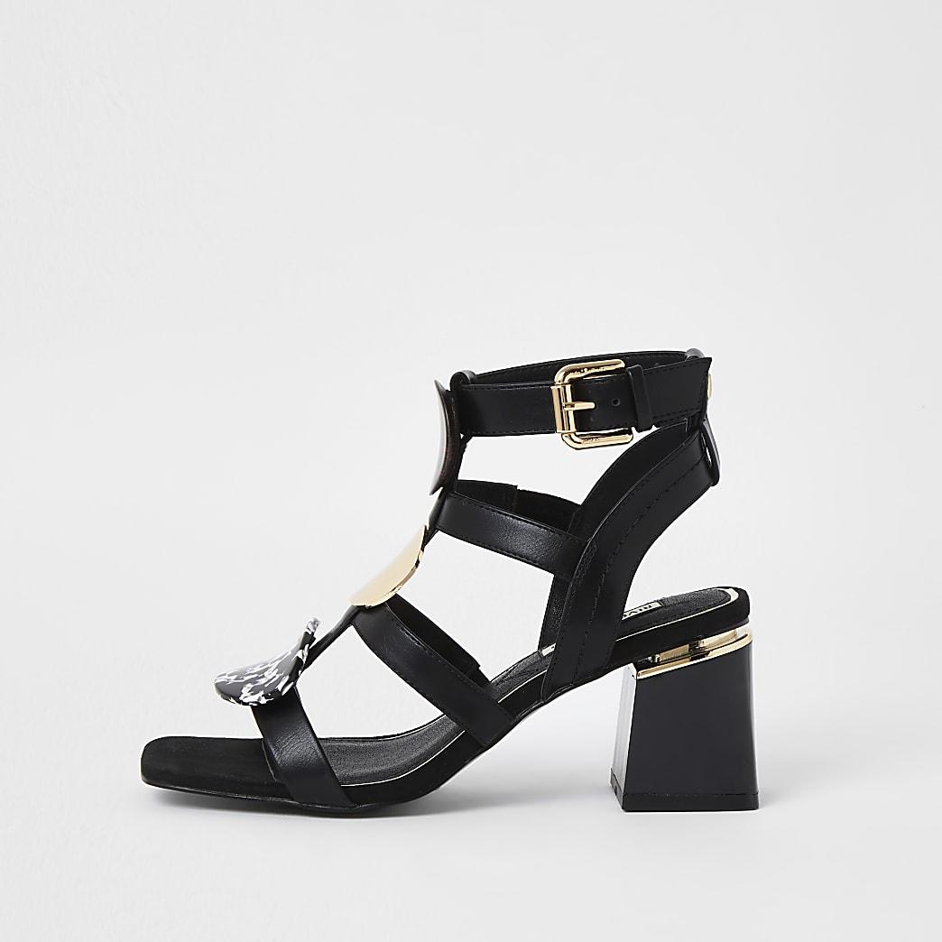 Black snake print disk block heel