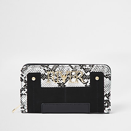 Black snake print 'River' zip around purse