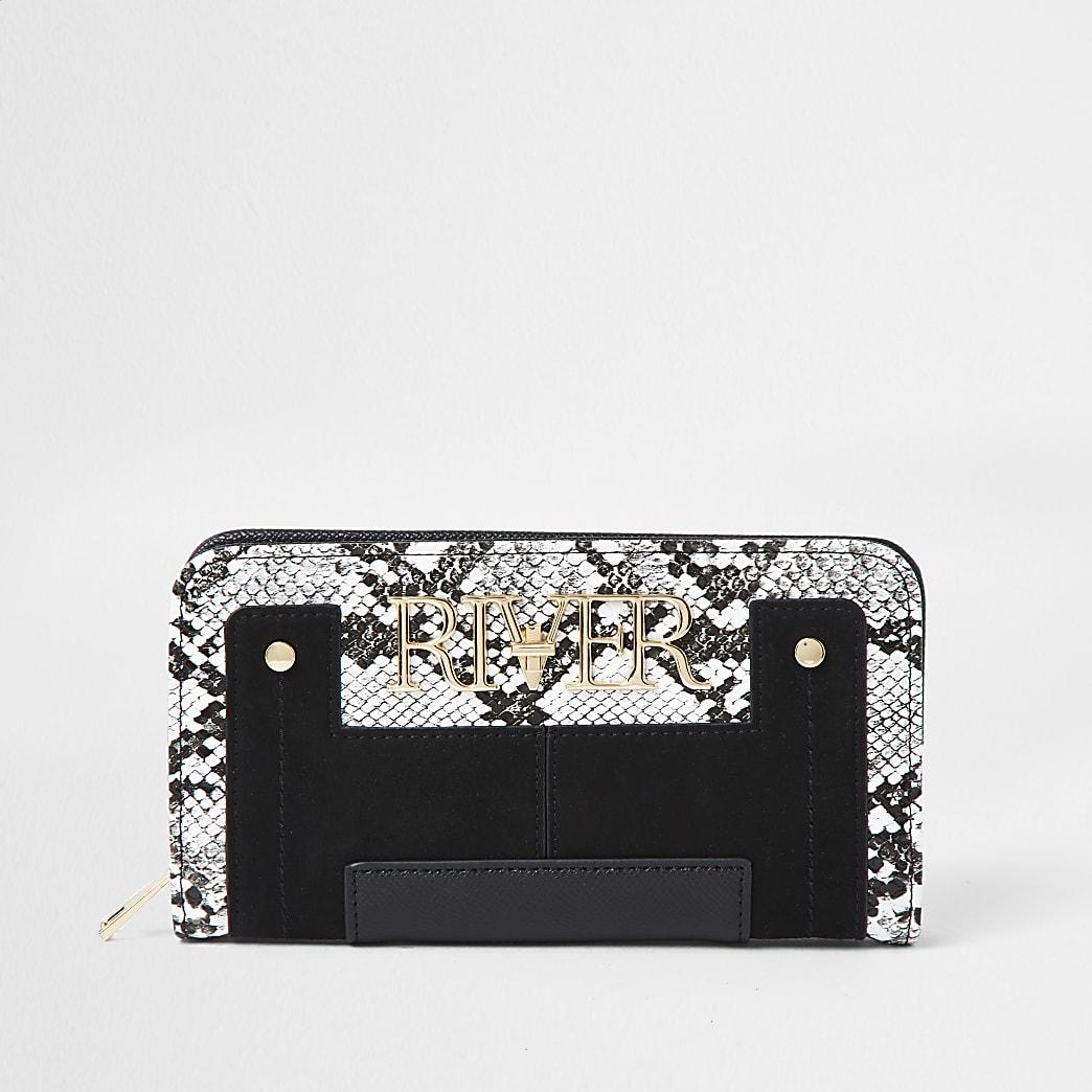 Black snake print 'River' zip around purse