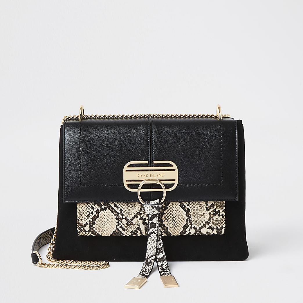 Black snake print tassel RI satchel bag