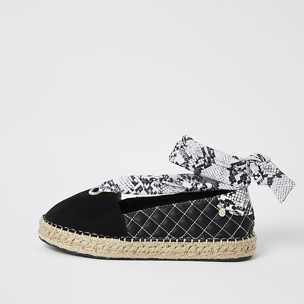 Black snake print tie up espadrille