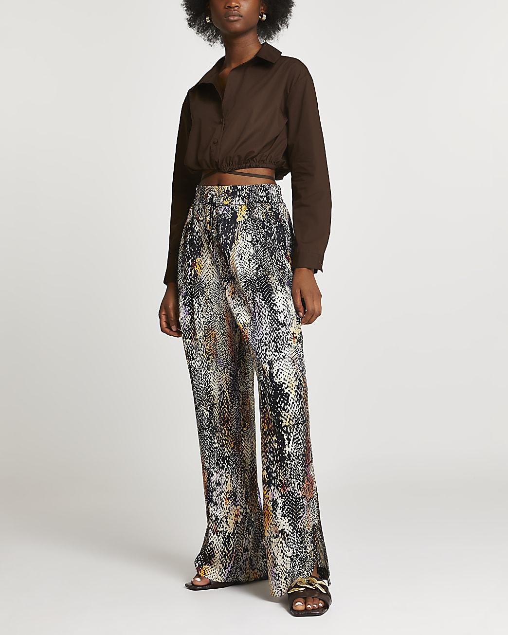 Black snake print wide leg trousers