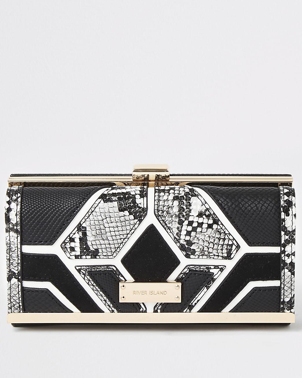 Black snake printed cutabout cliptop purse