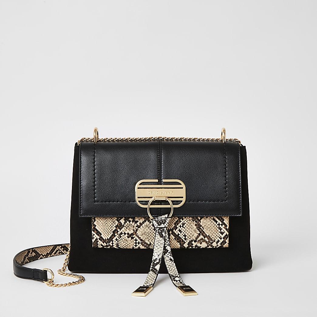 Schwarze Umhängetasche in Schlangenlederoptik mit Schloss vorne