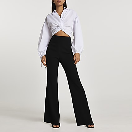 Black soft crepe flare trousers