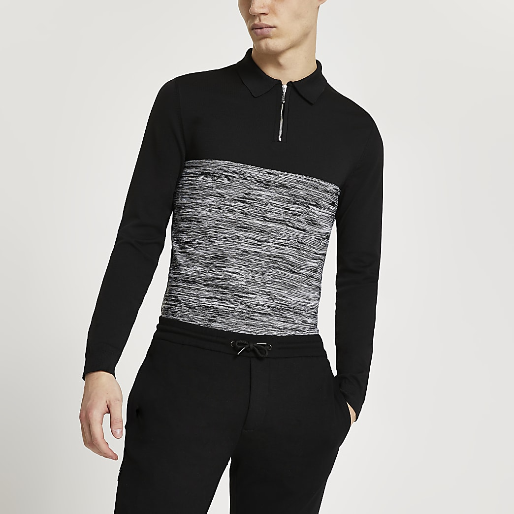 Black spacedye block muscle fit polo