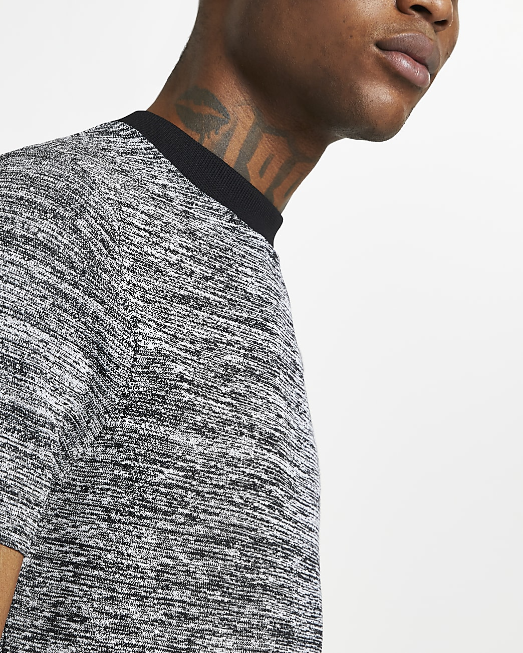 Black spacedye muscle fit knitted t-shirt
