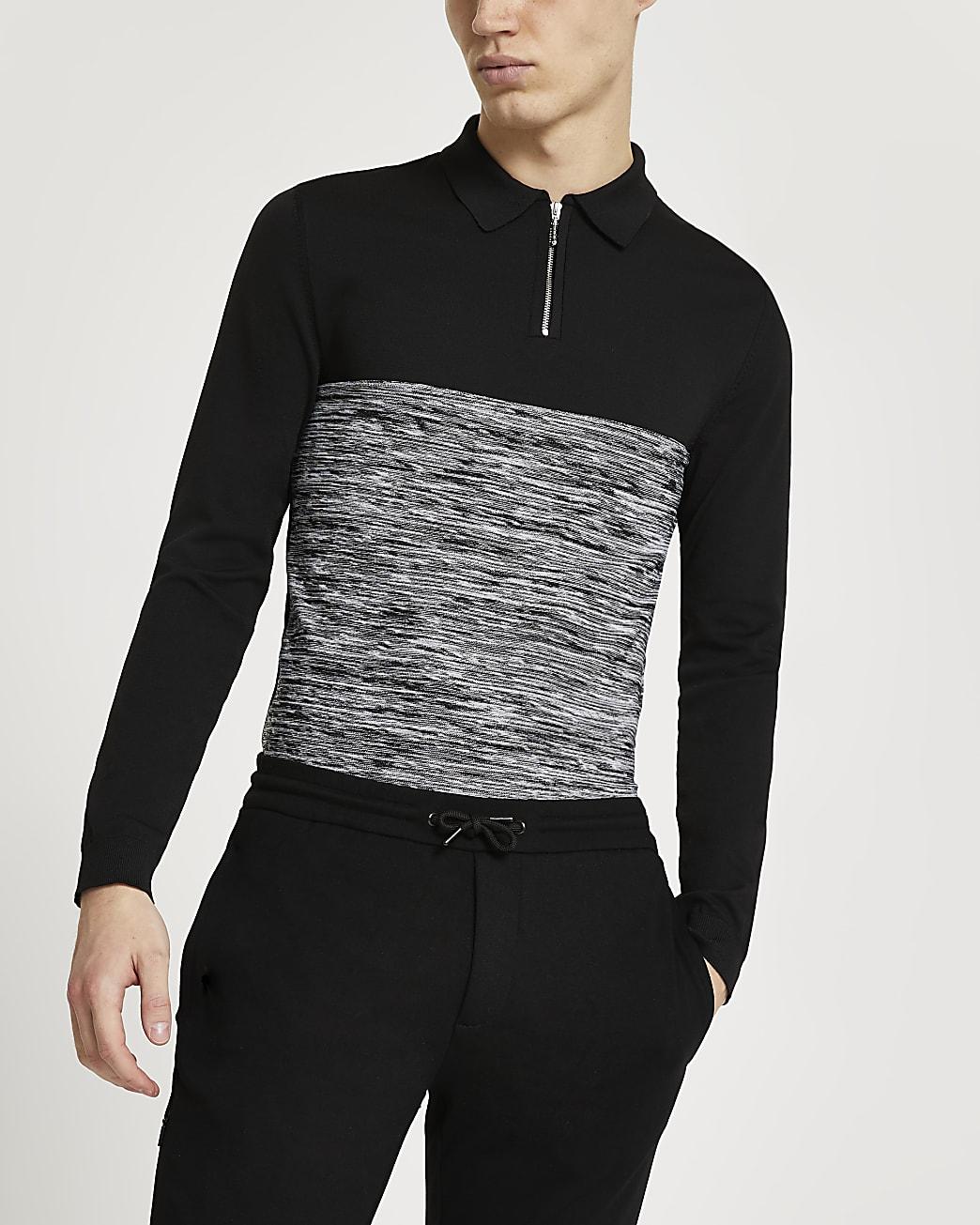 Black spacedye muscle fit long sleeve polo