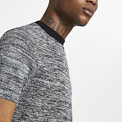 Black spacedye short sleeve knitted t-shirt