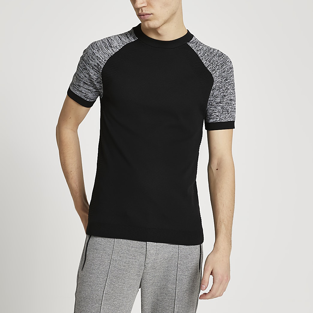 Black spacedye short sleeve knitted t-shirt