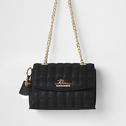 Black sparkle quilted satchel bag