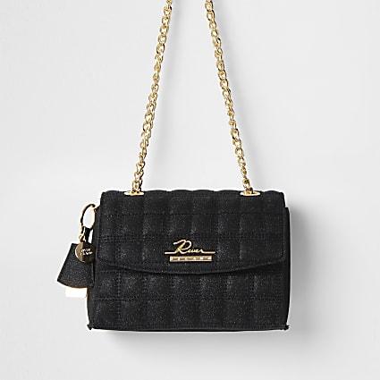 Black sparkle quilted satchel bag