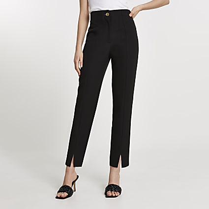 Black split front cigarette leg trousers