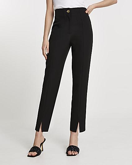 Black split front cigarette leg trousers